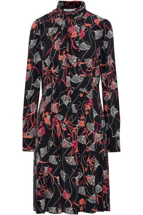 VALENTINO Tie-neck pleated floral-print silk-crepe dress