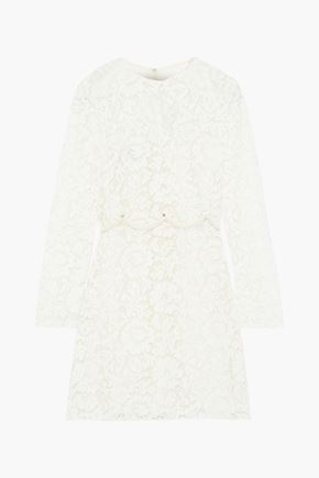 VALENTINO Layered studded corded lace mini dress