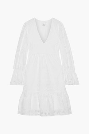 IRIS & INK Saguaro fluted broderie anglaise cotton mini dress
