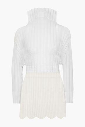 STELLA McCARTNEY Jacqueline embroidered plissé cotton-blend voile and tulle top