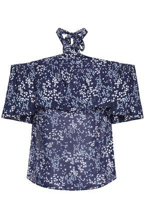 MICHAEL MICHAEL KORS Cold-shoulder ruffled floral-print crepe de chine top