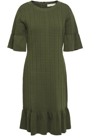 MICHAEL MICHAEL KORS Ruffle-trimmed stretch ribbed-knit dress