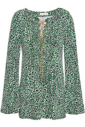 MICHAEL MICHAEL KORS توب من قماش بونتي المطبع برسومات مزين بسلسلة