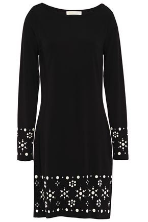 MICHAEL MICHAEL KORS Crystal and button-embellished stretch-jersey mini dress