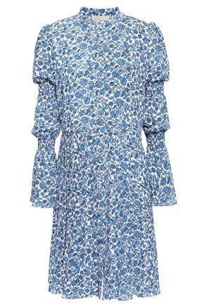 MICHAEL MICHAEL KORS Pleated shirred floral-print cloqué dress