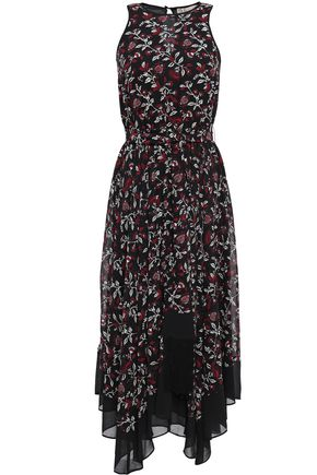 MICHAEL MICHAEL KORS Asymmetric belted floral-print georgette midi dress
