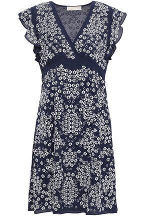 MICHAEL MICHAEL KORS Floral-appliquéd crepe dress