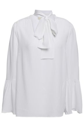 MICHAEL MICHAEL KORS Pussy-bow fluted washed-silk blouse