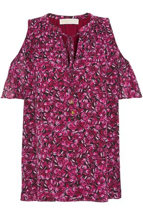 MICHAEL MICHAEL KORS Cold-shoulder printed crepe de chine top