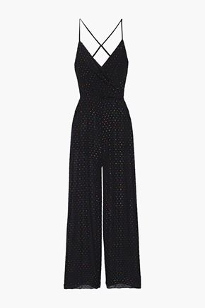 MICHELLE MASON Cami wrap-effect metallic swiss-dot chiffon jumpsuit