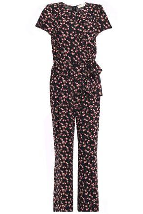 MICHAEL MICHAEL KORS Bow-embellished floral-print georgette wide-leg jumpsuit