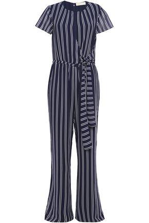 MICHAEL MICHAEL KORS Tie-front striped georgette wide-leg jumpsuit