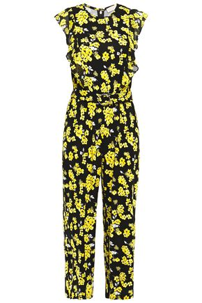 MICHAEL MICHAEL KORS Cropped belted ruffle-trimmed floral-print stretch-jersey jumpsuit