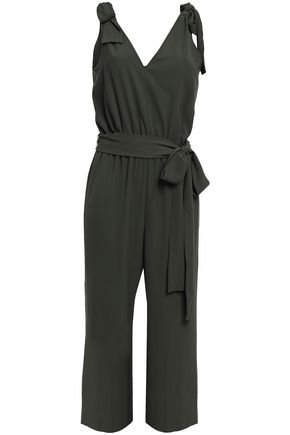 MICHAEL MICHAEL KORS Cropped belted bow-detailed crepe jumpsuit
