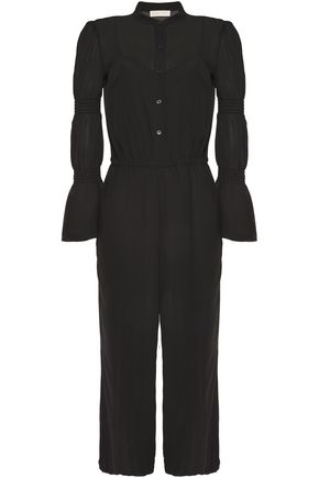 MICHAEL MICHAEL KORS Cropped shirred-trimmed georgette jumpsuit