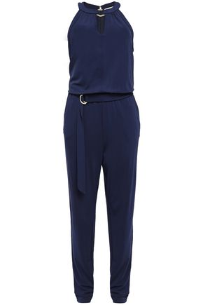 MICHAEL MICHAEL KORS Cutout belted ring-embellished stretch-crepe jumpsuit