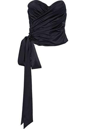 ALEXANDRE VAUTHIER Strapless draped silk-blend satin top