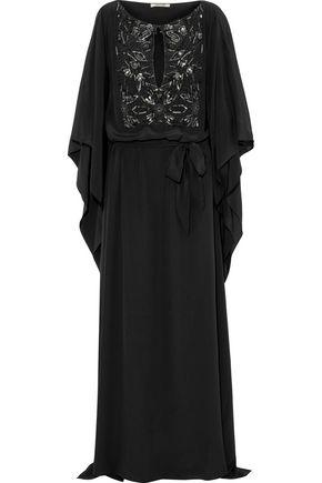 ROBERTO CAVALLI ベルト&装飾付き シルククレープデシン ロングドレス