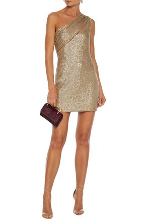 Rachel Zoe Dresses RACHEL ZOE WOMAN MAGDA ONE-SHOULDER SEQUINED METALLIC STRETCH-KNIT MINI DRESS GOLD