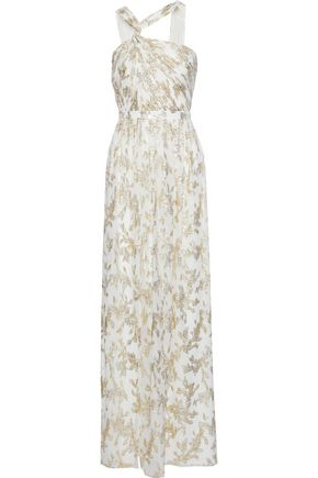 RACHEL ZOE Twist-front metallic fil coupé silk-blend chiffon gown