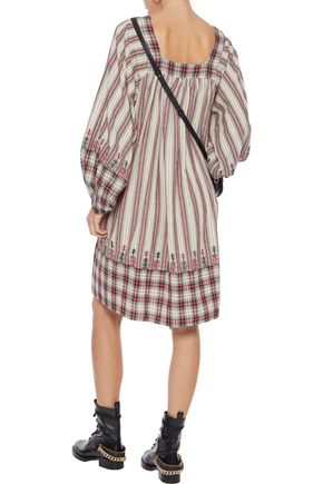MES DEMOISELLES Talulla embroidered striped cotton dress
