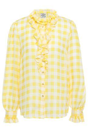 BAUM UND PFERDGARTEN Ruffled gingham jacquard shirt