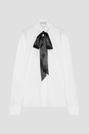 ALEXANDRE VAUTHIER Pussy-bow crystal-embellished cotton-poplin shirt