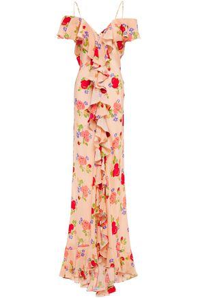 DE LA VALI Jolene cold-shoulder ruffled floral-print silk crepe de chine maxi dress