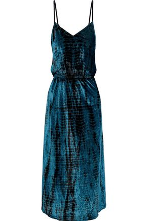 MES DEMOISELLES Suzie tie-dyed crushed-velvet midi slip dress