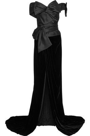 MARCHESA オフショルダー リボン付き サテン&ベルベット ロングドレス