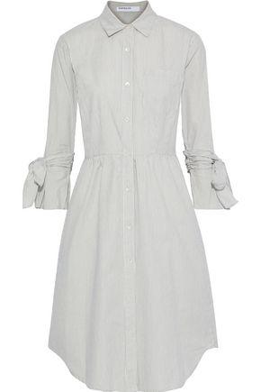 STATESIDE Bow-detailed striped cotton shirt dress
