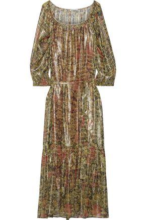 MES DEMOISELLES Paturage floral-print metallic silk-blend georgette maxi dress