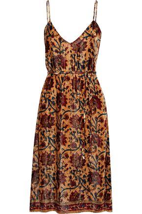 MES DEMOISELLES Chopin floral-print velvet slip dress