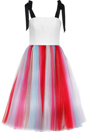 CAROLINA HERRERA Grosgrain-trimmed paneled striped silk-tulle and cady dress