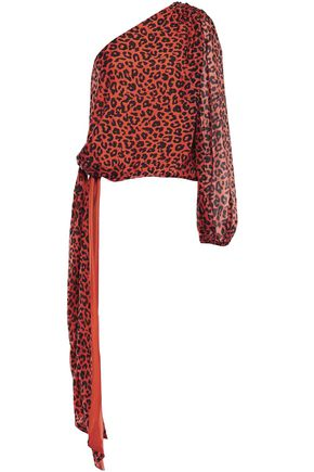 MICHELLE MASON One-shoulder bow-detailed leopard-print silk-chiffon top