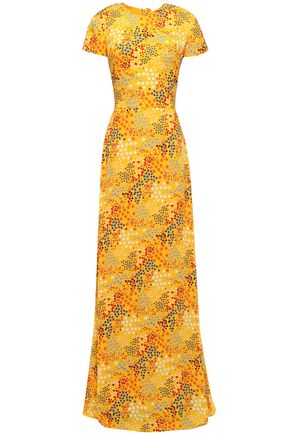 CAROLINA HERRERA Cutout bow-detailed printed crepe gown