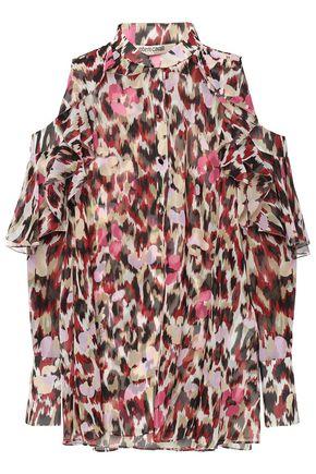 ROBERTO CAVALLI Cold-shoulder ruffled printed silk-chiffon blouse