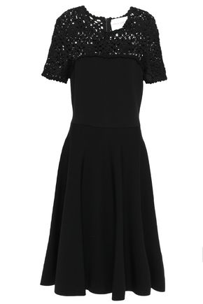 CAROLINA HERRERA Flared crochet-paneled stretch-ponte dress