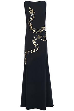 ROBERTO CAVALLI Appliquéd crepe gown