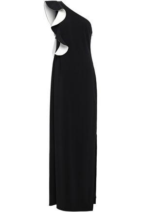 HALSTON HERITAGE ワンショルダー ラッフルトリム クレープ ロングドレス