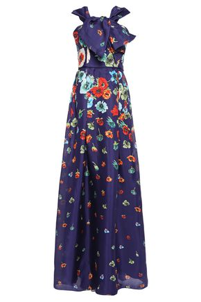 CAROLINA HERRERA Pleated bow-embellished floral-print silk-organza gown