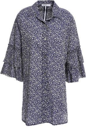 STATESIDE قميص من القطن المطبع بالورود مزين بالكشكش