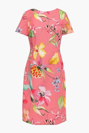 CAROLINA HERRERA Floral-print stretch-cotton ottoman dress
