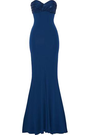 ALEXANDRE VAUTHIER ストラップレス クリスタル付き ストレッチジャージー ロングドレス