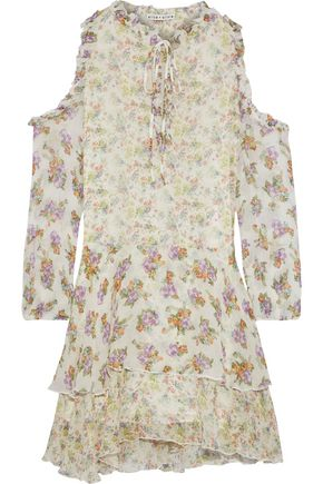 ALICE + OLIVIA Glynda cold-shoulder tiered floral-print crinkled chiffon mini dress
