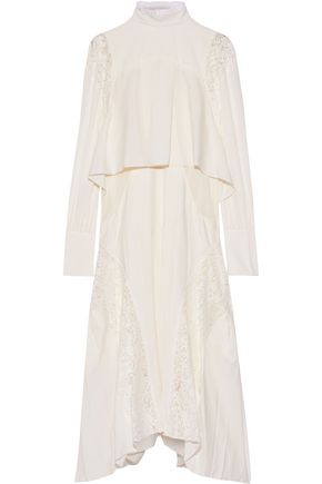 CHLOÉ Layered lace-paneled pleated crepe de chine dress