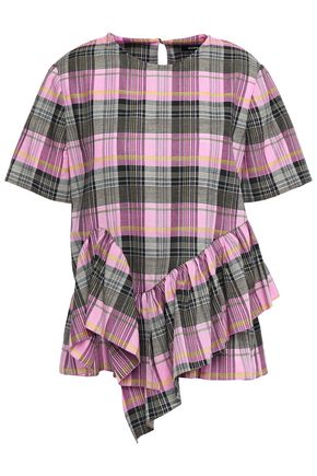 GOEN.J Asymmetric tiered checked cotton-jacquard blouse