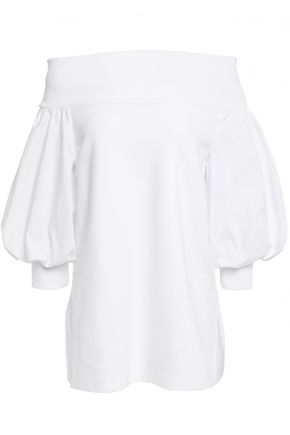 GOEN.J Off-the-shoulder jersey-paneled cotton-poplin blouse