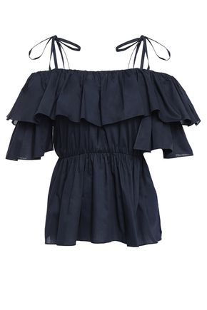 GOEN.J Cold-shoulder bow-detailed ruffled cotton-mousseline blouse