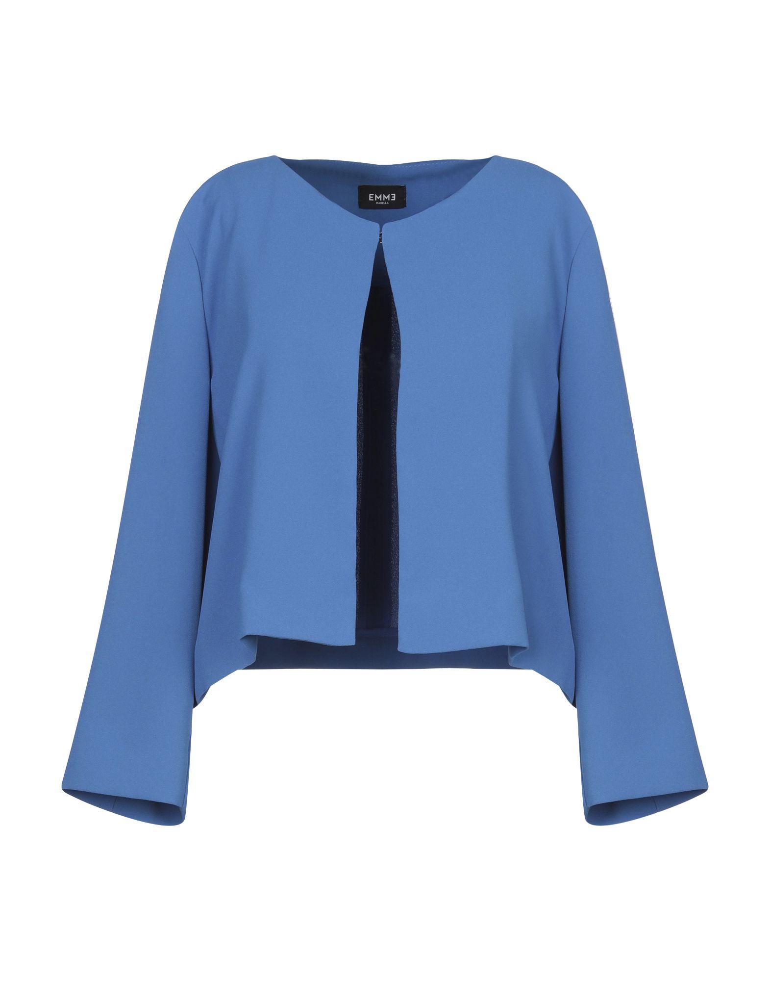 《セール開催中》EMME by MARELLA レディース テーラードジャケット ブルー 48 ポリエステル 100%